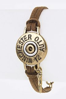Gun Shell Charm Skinny Leather Cuff