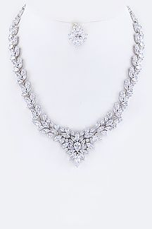 Cubic Zirconia Statement Necklace Set