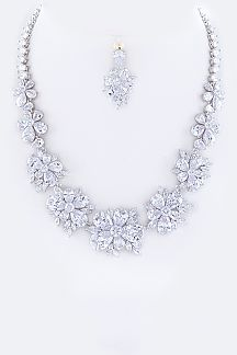 Cubic Zirconia Floral Statement Necklace Set