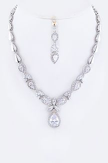 CZ Teardrop Pendant Necklace set