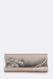Crystal Bow Accent Metallic Clutch