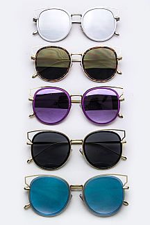 Layered Rim Oval Sunglasses