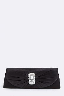 Crystal & Pleated Flap Evening Clutch