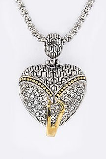 Pave Crystals Heart Pendant Necklace