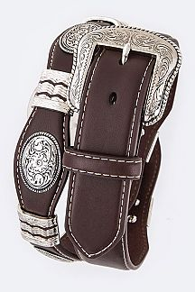 Oval Concho Top Stitched Vintage Cowboy Belt