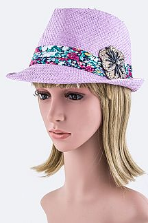 Beaded Flower Straw Fedora