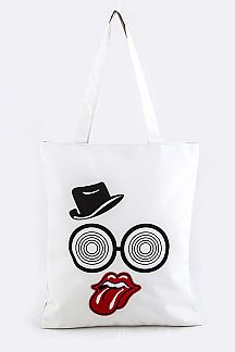 Glasses & Big Mouth Patch Tote