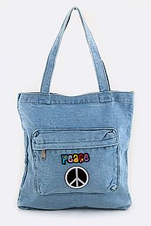 Peace Patches Zipper Pocket Denim Tote