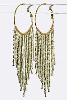 Fringe Bead Hoop Earrings