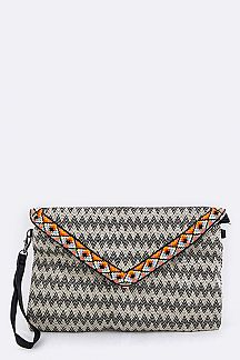 Chevron Pattern Envelope Clutch