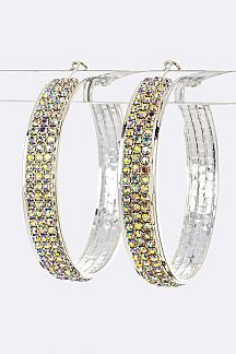 3 Row Crystal Hoop Earrings