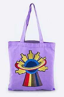 Planet Embroidery Fashion Tote