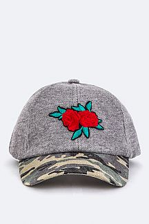 Rose Embroidered Patch Cameo Jersey Cap