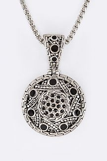 Pave Crystals Disk Pendant Necklace
