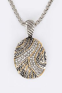 Crystal Swash Oval Pendant Necklace