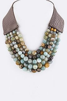 Layer Beads Genuine Leather Necklace