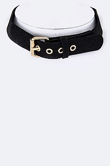 Velvet Buckled Choker Necklace