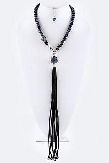 Mix Beads & Suede Tassel Drop Necklace Set