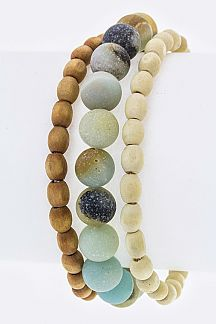 Semi Precious & Wooden Bead Stretch Bracelets Set