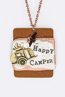 Happy Camper Tags Necklace