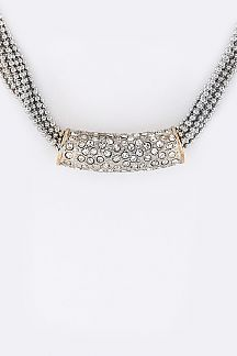 Crystal Tube & Layer Chains Necklace