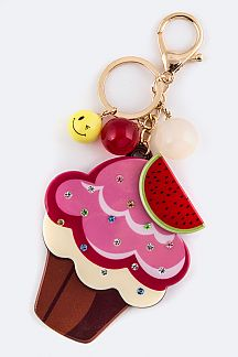 Cup Cake Mirror Key Charm