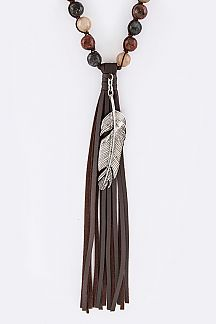 Feather Charm & Leather Tassel Necklace