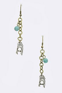 Turquoise Bead Native Inspired Drop Earrings