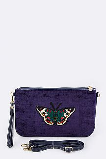 Butterfly Embroidery Convertible Corduroy Pouch