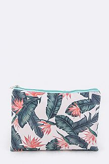 Tropical Flower Print Pouch
