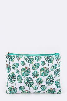 Tropical Leaf Print Pouch