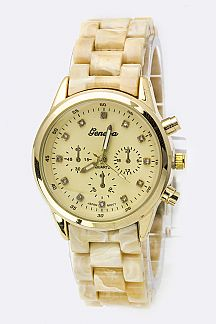 Crystal Dials Fashion Chrono Watch