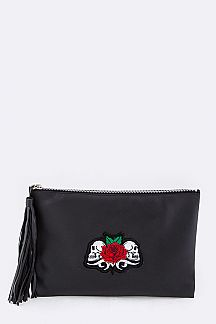 Skulls & Rose Embroidery Tasseled Leather Pouch