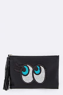 Sequins Eyes Tasseled Leather Pouch