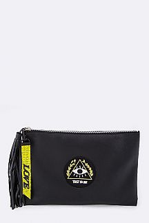 Eye of Providence Tasseled Leather Pouch