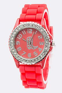 Western Boot Crystal Jelly Strap Watch