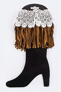Lace & Fringe Suede Boot Toppers