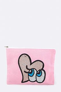 Sequins Heart & Eyes Canvas Pouch