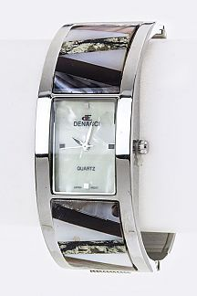 Pave Shell Fashion Bangle Watch