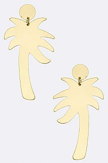 Metal Palm Tree Earrings - S