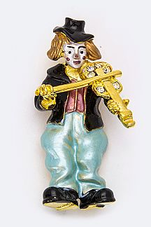 Clown Playing Violin Brooch