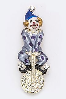 Monocycle Clown Brooch
