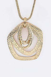 Textured Hoops Pendant Necklace Set