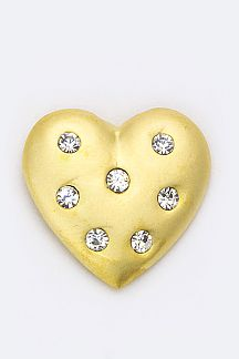 Petite Crystal Heart Pin Brooch