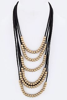 Metal Beads Layer Suede Necklace