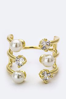 Crystal & Pearl Open Ring