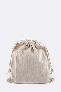 Drawstring Cotton Linen Pouch - M