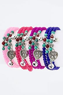 Heart Charm & Mix Beads Stretch Wrapped Bracelets Set