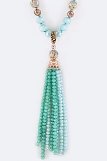 Mix Beads Tassel Necklace Set
