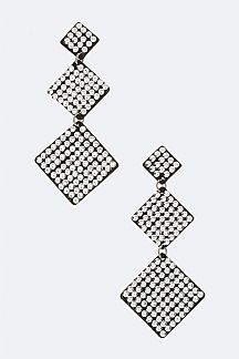 Micro Studs Rhombus Drop Earrings